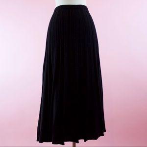 Eileen Fisher Black Wool Pleated Midi Skirt